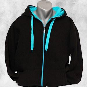 duks jakna crna tirkiz