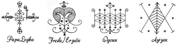 Veve, symbolic representations of Voodoo Spirits, the Loa