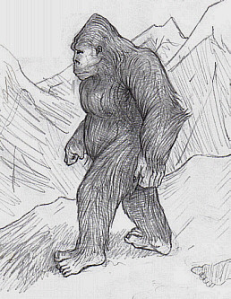 Yowie walking through a mountainous landscape
