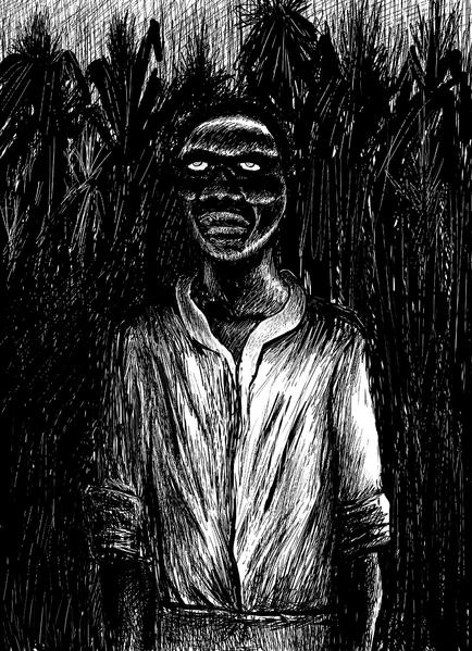 Zombified victim of voodoo ritual