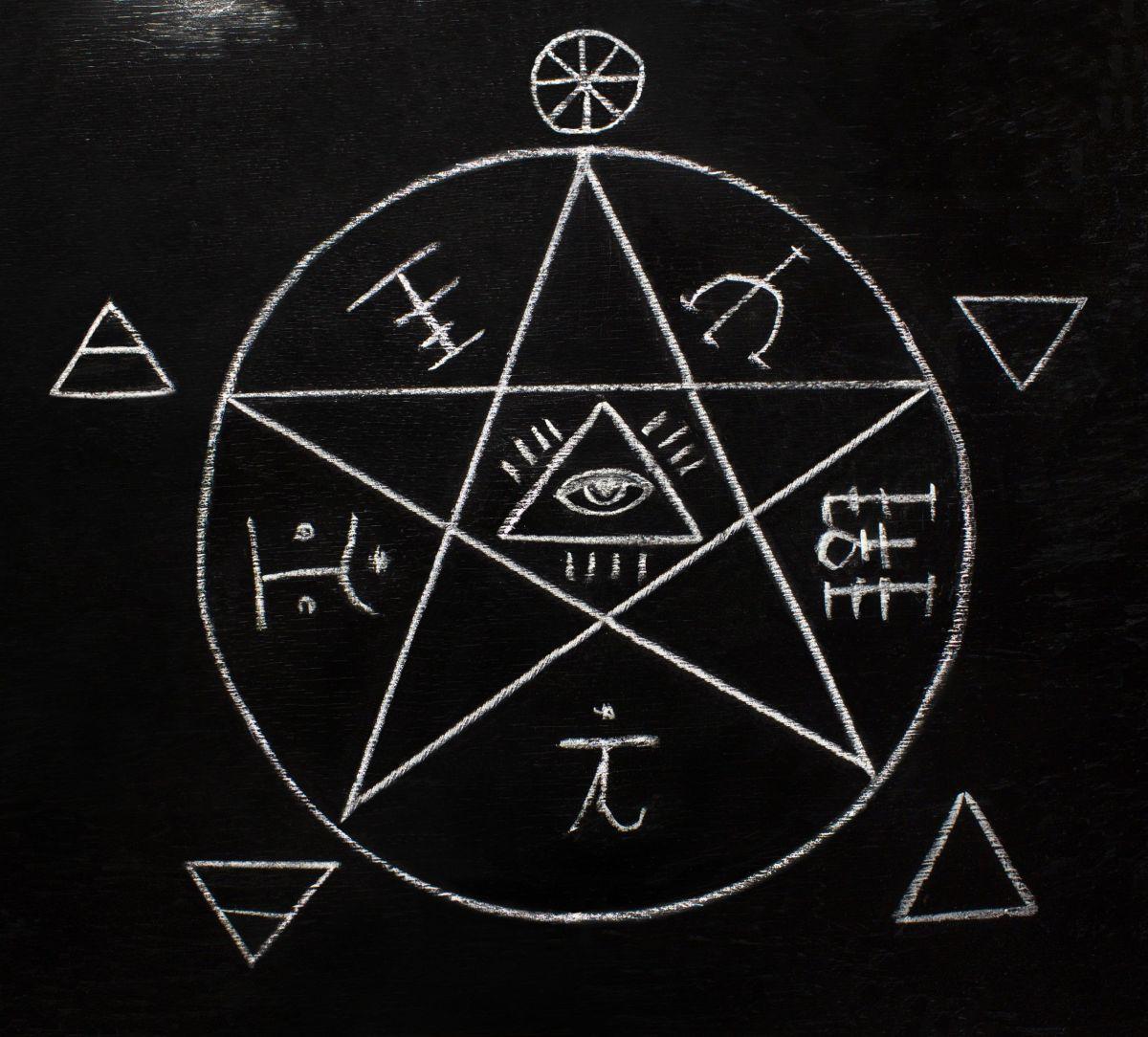 pentagram and symbols