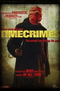 Timecrimes horror movie poster with creepy killer