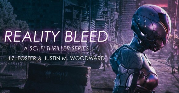 Reality Bleeds sci-fi thriller cover art with robot.
