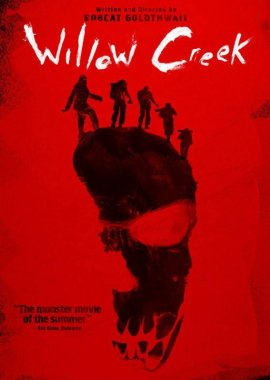 Willow Creek Folk Horror Movie poster with a big foot imprint and red background