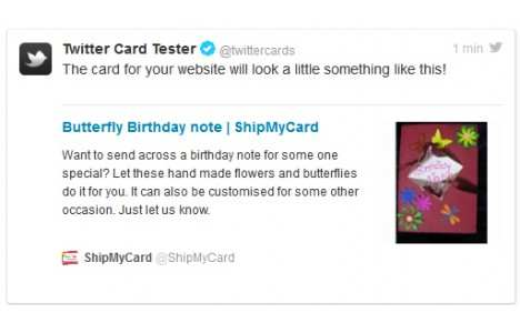 Twitter card plugin example on shipmycard.com
