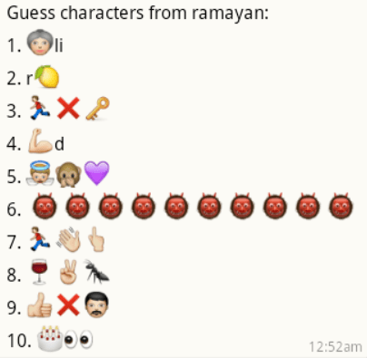 Guess Ramayana Character names from whatsapp emoticons