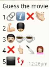 guess the movie names from whatsapp emoticons