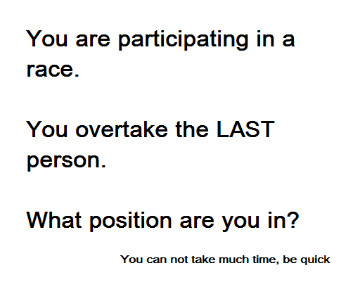 overtake last person in race puzzle