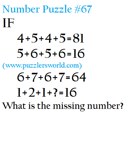 If 4+5+4+5=81 5+6+5+6=16 6+7+6+7=64 1+2+1+?=16 What is the missing number?