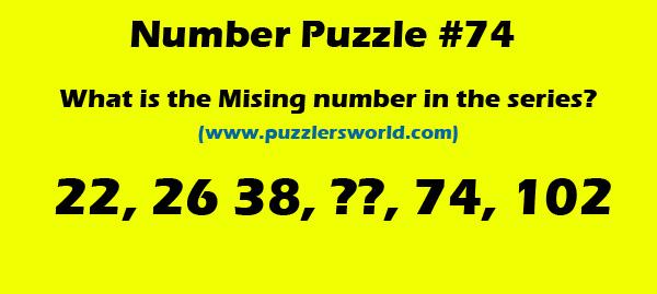 Missing number in series 22,26,38,_,74,102