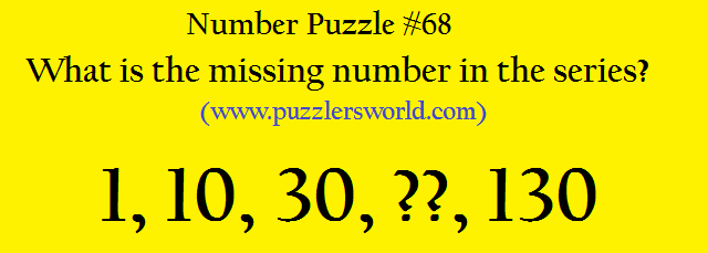 missing number in 1, 10, 30, ??, 130