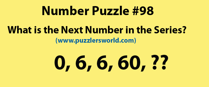 Number puzzle 98, Next number, 0,6,6,60,??