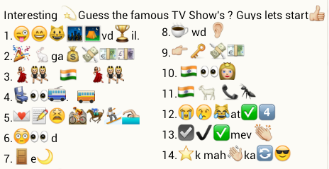 Guess famous TV shows from WhatsApp Emoticons