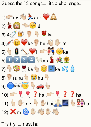 Guess the 12 songs, try try mast hai