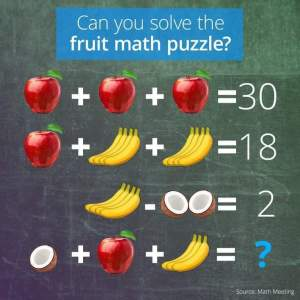 fruit math puzzle with apple, banana and coconut
