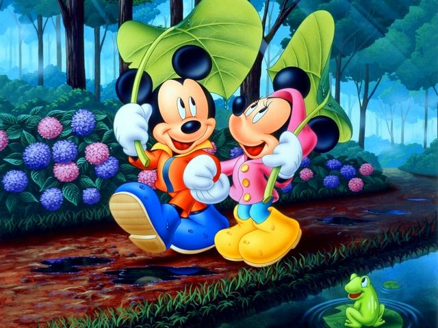 Disney Summer Mickey And Minnie Mouse By The River Wallpaper