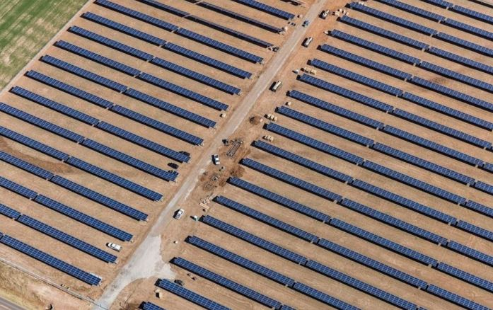 This photograph shows Oklahoma Gas and Electric Co.'s solar generating facility near Covington. Construction on the project was completed in March. [Photos provided by Oklahoma Gas and Electric Co.]