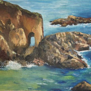 "Arches in the Sea by Sally-Christine Rodgers, Oil on Board, 8"" x 10"""