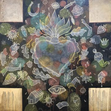 "Going Viral series: Talismen for a Plague by Chris Miroyan, Acrylic on Panel 36"" x 36"""
