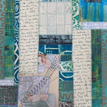 """Number 84 by Daniella Woolf, Sewn Paper Collage 11"""" x 15"""""""