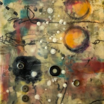 "Mental Messages by Deborah Hill, Cradled Board Encaustic 22"" x 10"""