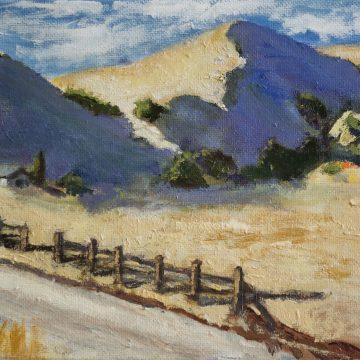 "Farm Shadows by Sally-Christine Rodgers, Oil on Board, 8"" x 10"""
