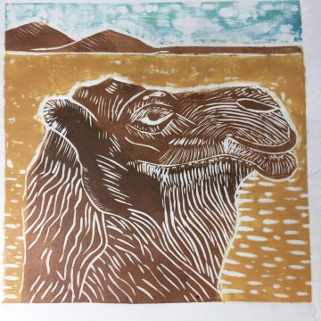 "Charlie by Helen MacKinlay, Silk-Cut Lino Print on Sumi Paper 6"" x 4"""