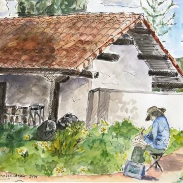 Painting in Santa Cruz Mission's Garden by Martine Mahoudeau, Watercolor