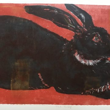"Black Rabbit by Susan Cartwright, Monotype 20"" x 30"""