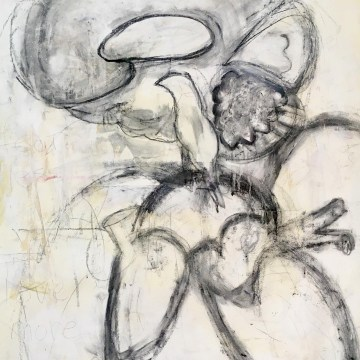"Fear Less, Live More: Drawing 1 by Jean Sheckler Beebe, Mixed Media on Paper 26"" x 18"""