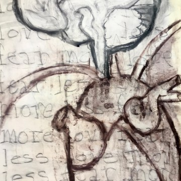"Fear Less, Live More: Drawing 2 by Jean Sheckler Beebe, Mixed Media on Paper 26"" x 18"""