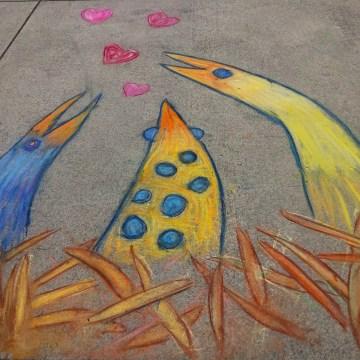 Sidewalk Love Birds in Nest by Linda Cover, Chalk