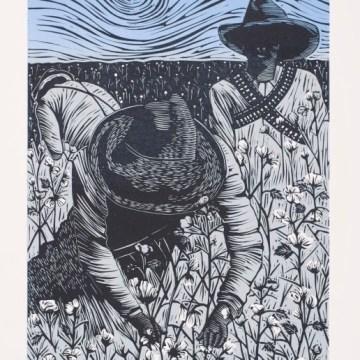 Pensando En La Revolución by Juan R. Fuentes, Linocut