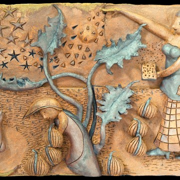 "Reborn in Starlight by Brad Burkhart, $850, High-fried Clay Relief, 14"" x 22"" x 3"""