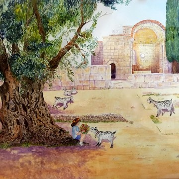 "At Gortyn, Crete by Lee Taiz, $400, Watercolor, 24"" x 29"""