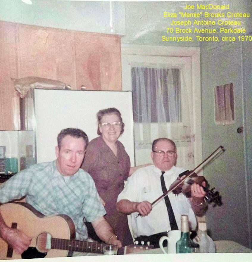 b 70 Brock St. In the kitchen c 1970 with Sunny Clark's Uncle Joe MacDonald (married Gran's sister Eva Brooks) and my Grandparents boarding house