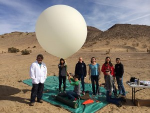 PVIT students launch balloon in desert near Barstow.