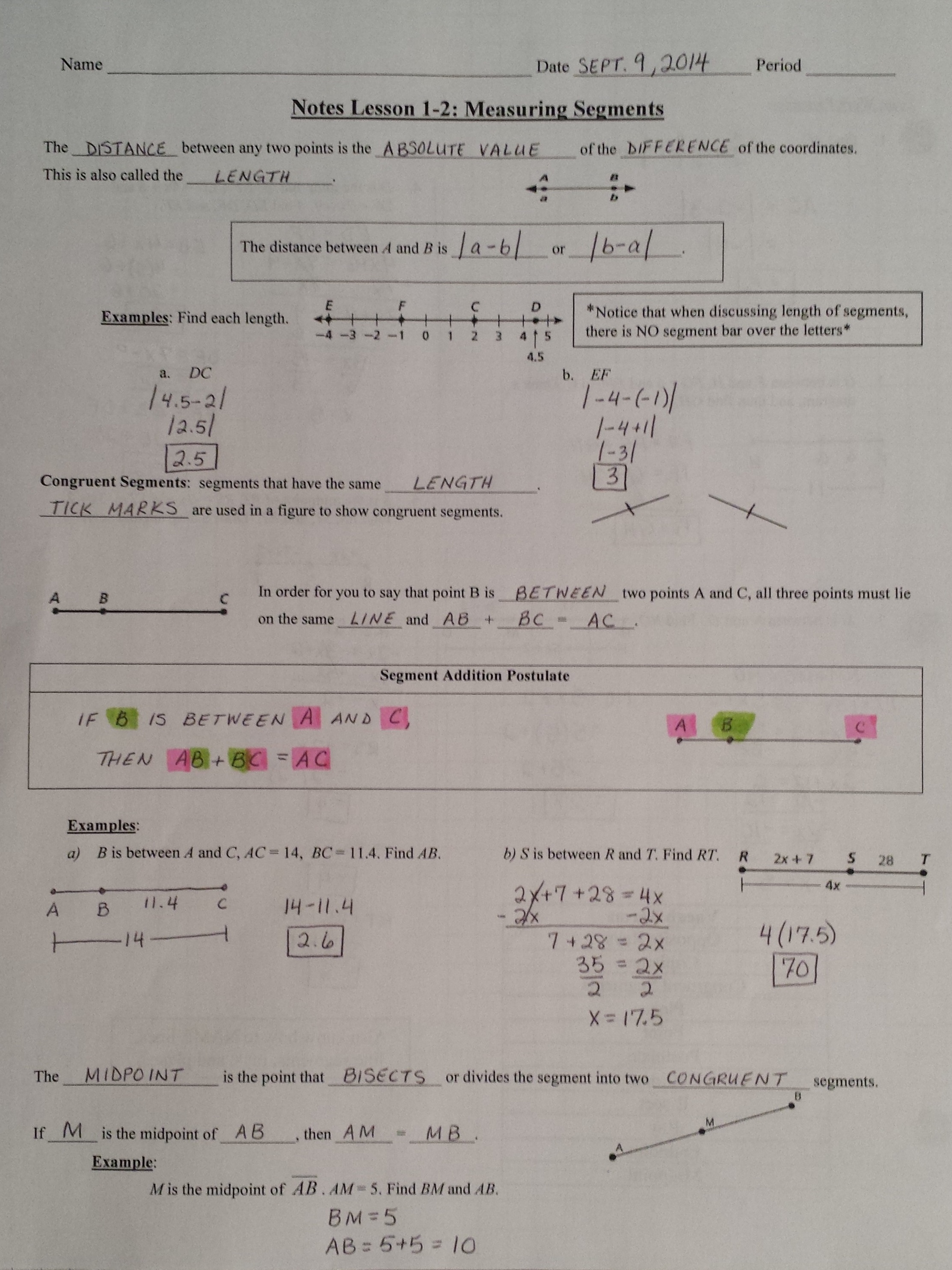Points Rays Lines Line Segment Worksheet
