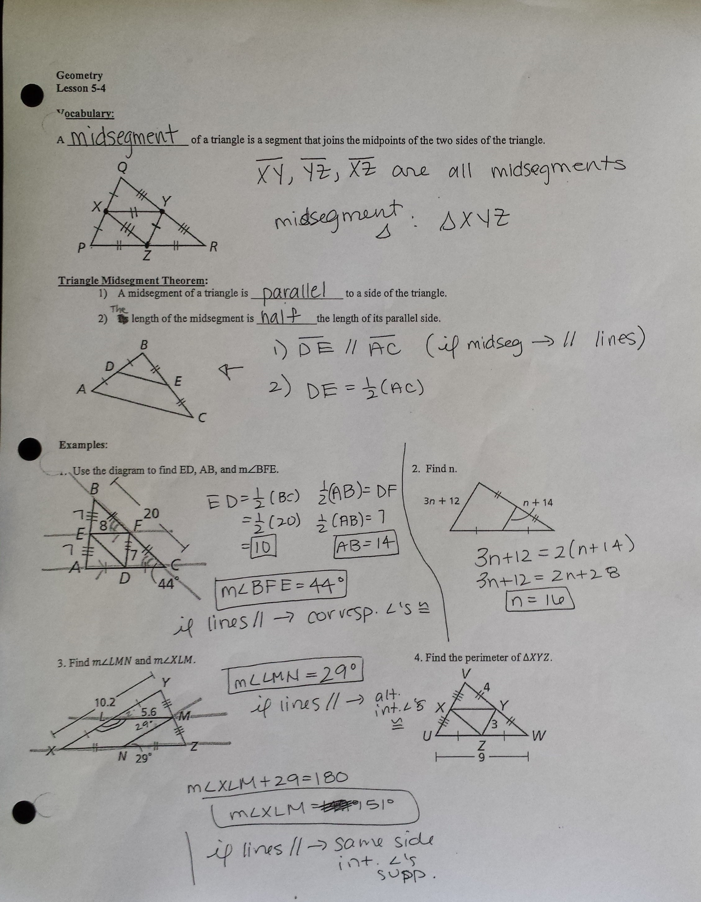 30 Midsegments Of Triangles Worksheet Answers