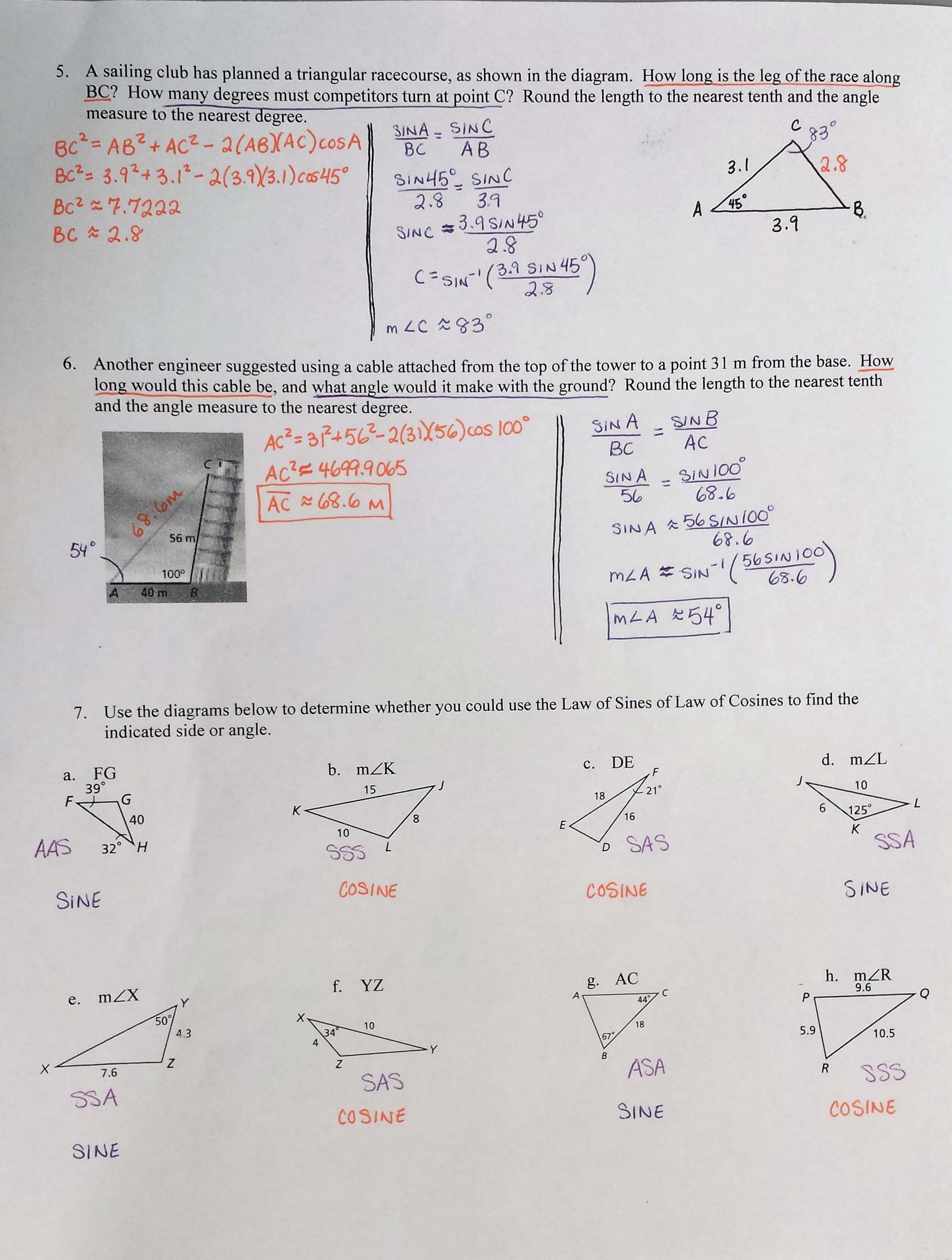Printables Of Geometry Worksheet 8 5 Angles Of Elevation And Depression