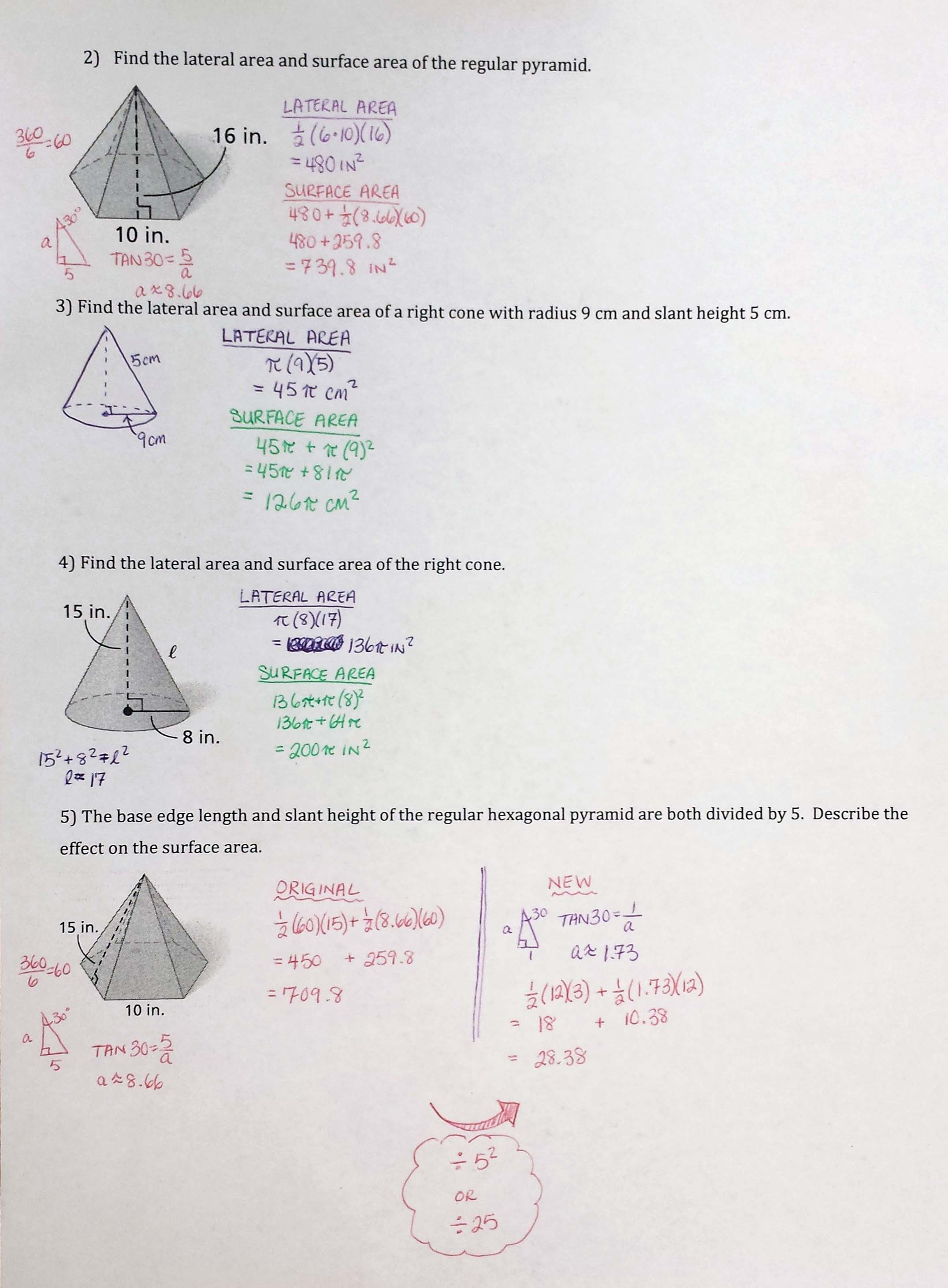 Worksheet Volume Of Cones Cylinder And Spheres Answer Key