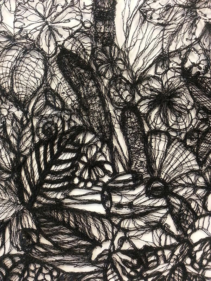 No stranger to alternative methods, this detail of a nine foot lace work shows the intricate detail the artist can achieve when she uses a sewing machine to literally draw lace.
