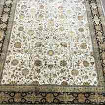Ivory Black Indian Tabriz Wool and Silk Rug Scottsdale AZ PV Rugs Overview