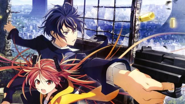 Обои аниме, black, bullet, оружие, парень, черная, пуля, девушка ...