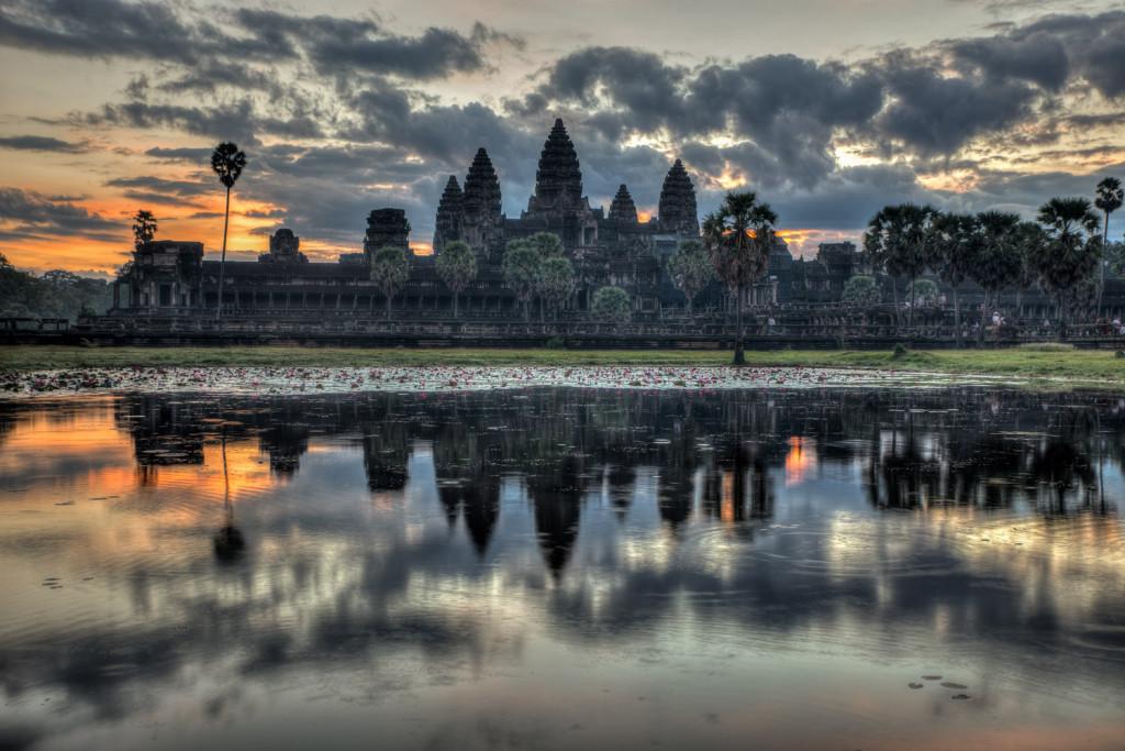 Angkor Wat temple reflected at sunrise, in Angkor, Cambodia.