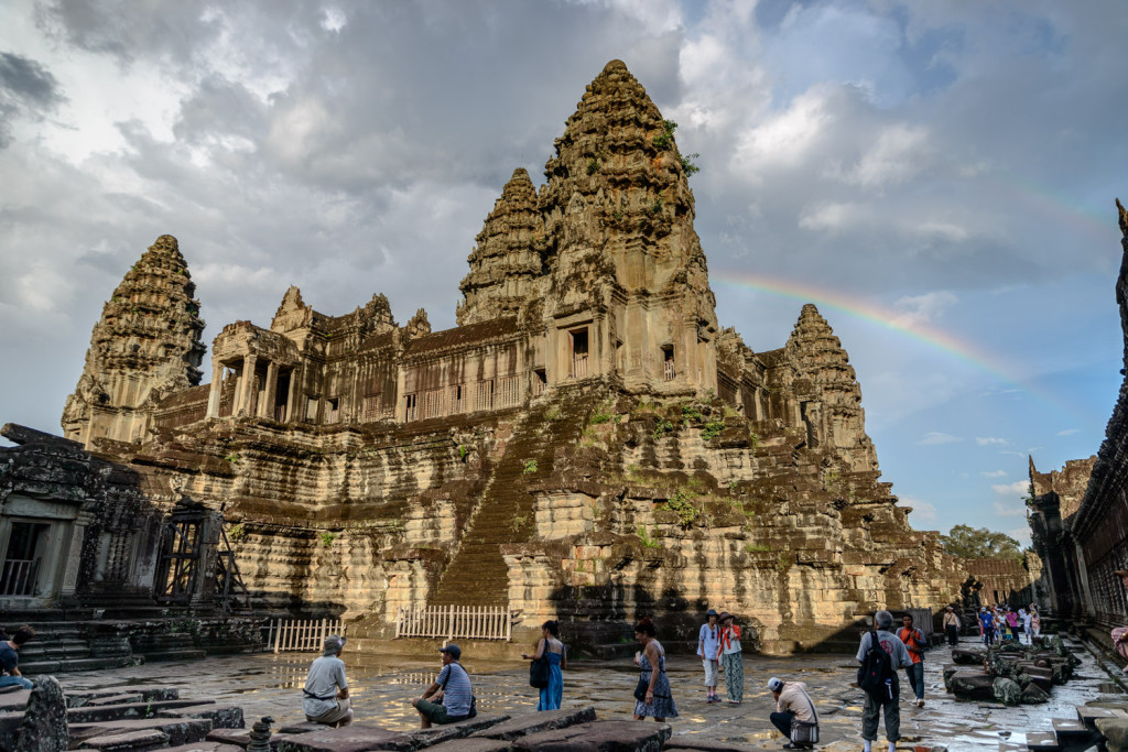 A rainbow appears after a rain shower, in Angkor Wat, Cambodia.
