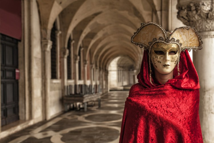 Beautiful Woman in Mysterious Mask, The Carnival of Venice