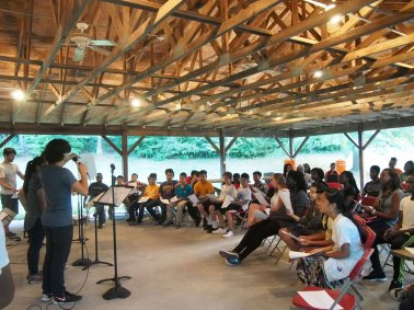 Leading worship for area youth groups in multiple languages