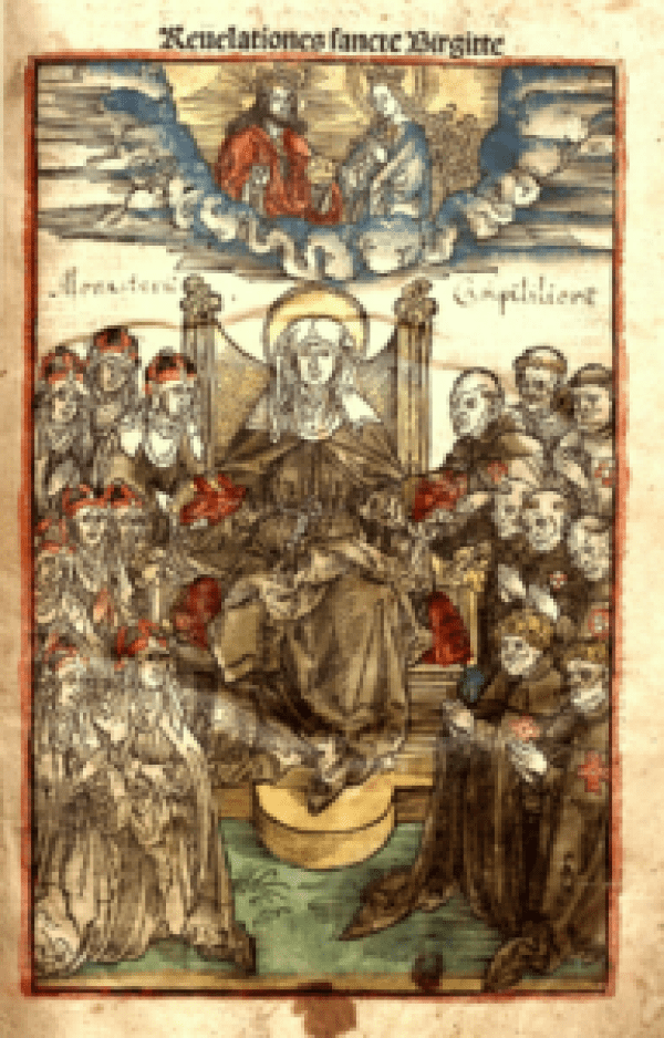 St. Bridget full page woodcut