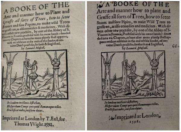 Comparing the pirated title page to the original